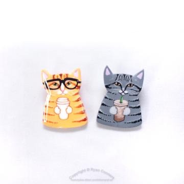 Coffee Cats Art Pins